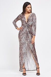 cd15bac33c Image is loading EX-MISSGUIDED-Plunge-Knotted-Leopard-Print-Maxi-Dress-