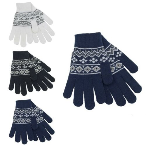 Da Donna FairIsle Guanti con brillantini in 3 Colori UK