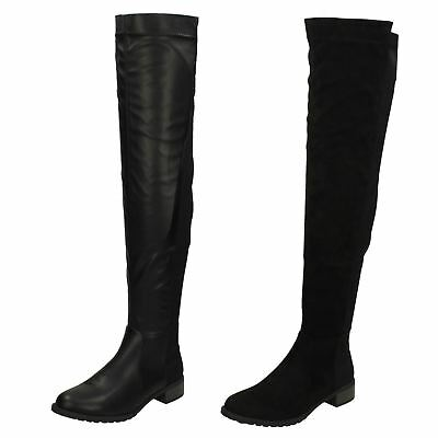 Ladies F50764 Zip Up Over the Knee  Boots By Spot On WAS £39.99 NOW £29.99