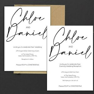 Personalised WEDDING INVITATIONS Classic Minimal Black & White PK 10
