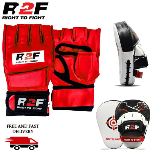 Boxing Gloves /& Focus Pads MMA Set Hook /& Jab Training Mitt Punch Sparring Adult