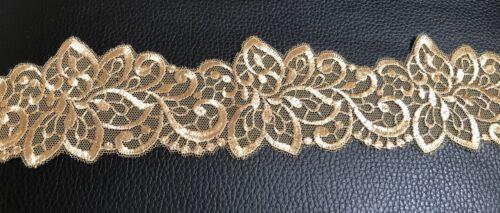 Dark Gold Colour Floral Embroidered Lace Trim Wedding Embellish Vintage 1 Metre