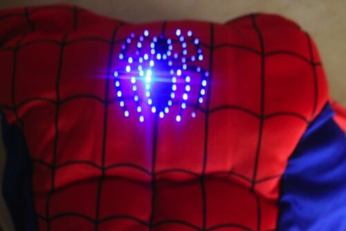Small M 4 5 6 7 8 9 Spiderman Light up Muscle Costume boys kids Halloween Xs