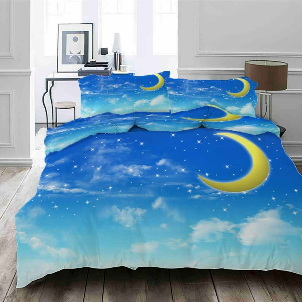 Curved Nice Moon 3D Printing Duvet Quilt Doona Covers Pillow Case Bedding Sets