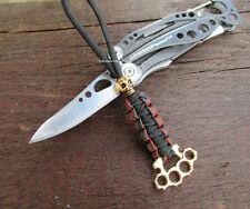 Paracord Lanyard Skull und Schlagring -Schlüsselanhänger Taschenmesser Luxus #