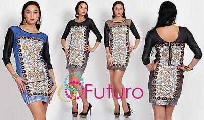 Da Donna Nuovo Oriental Tunica In Pelle Eco Modello Univoco Zipper Vestito Aderente Fc12-mostra Il Titolo Originale