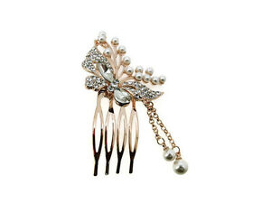 BN Bridal Rose Gold Wedding Flower Crystal & Pearls Women Hair Clip Comb 230