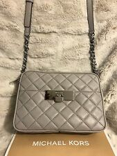 NWT MICHAEL KORS SUSANNAH QUILTED LEATHER MED MESSENGER CROSSBODY BAG-PEARL GREY