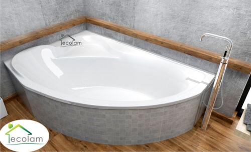 Badewanne Eckbadewanne Acryl 166 x 107 cm Schürze Wannenträger Füße links