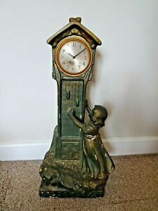 Antique-1920-039-s-Art-Deco-Chalkware-Cast-Grandfather-Mantel-Clock-with-Little-Girl