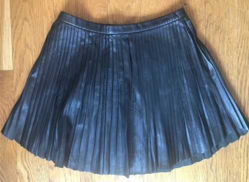 Intermix Exclusive Pleated Leather Skirt XS Black