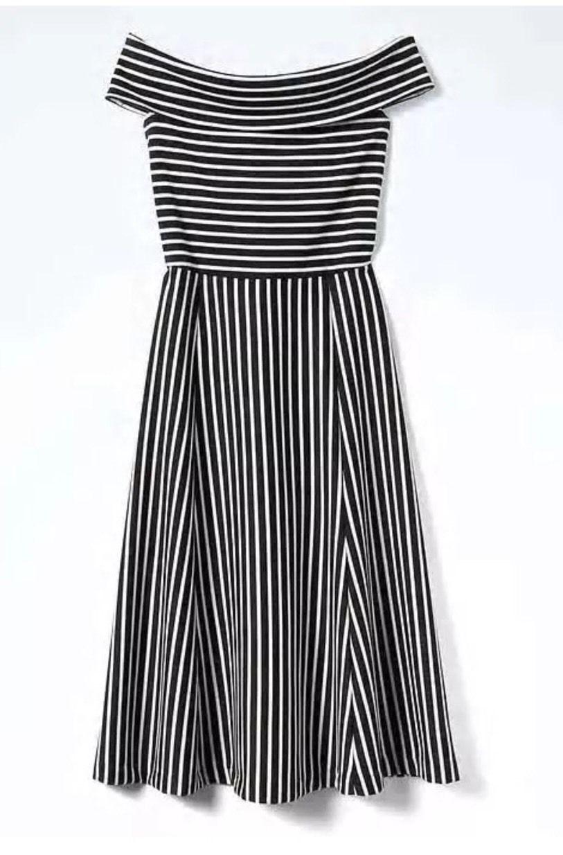 NWT Banana Republic Stripe Off-Shoulder Midi Dress schwarz Weiß Sz 4T, 4