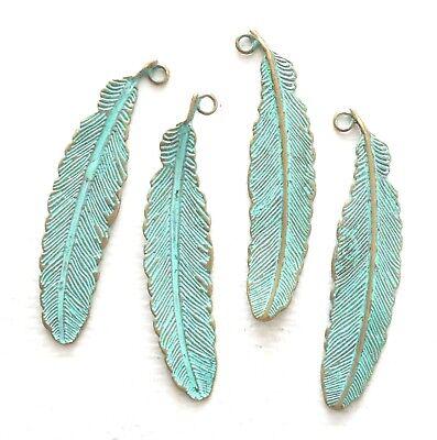 8pcs Silver tone feather charm,western charm