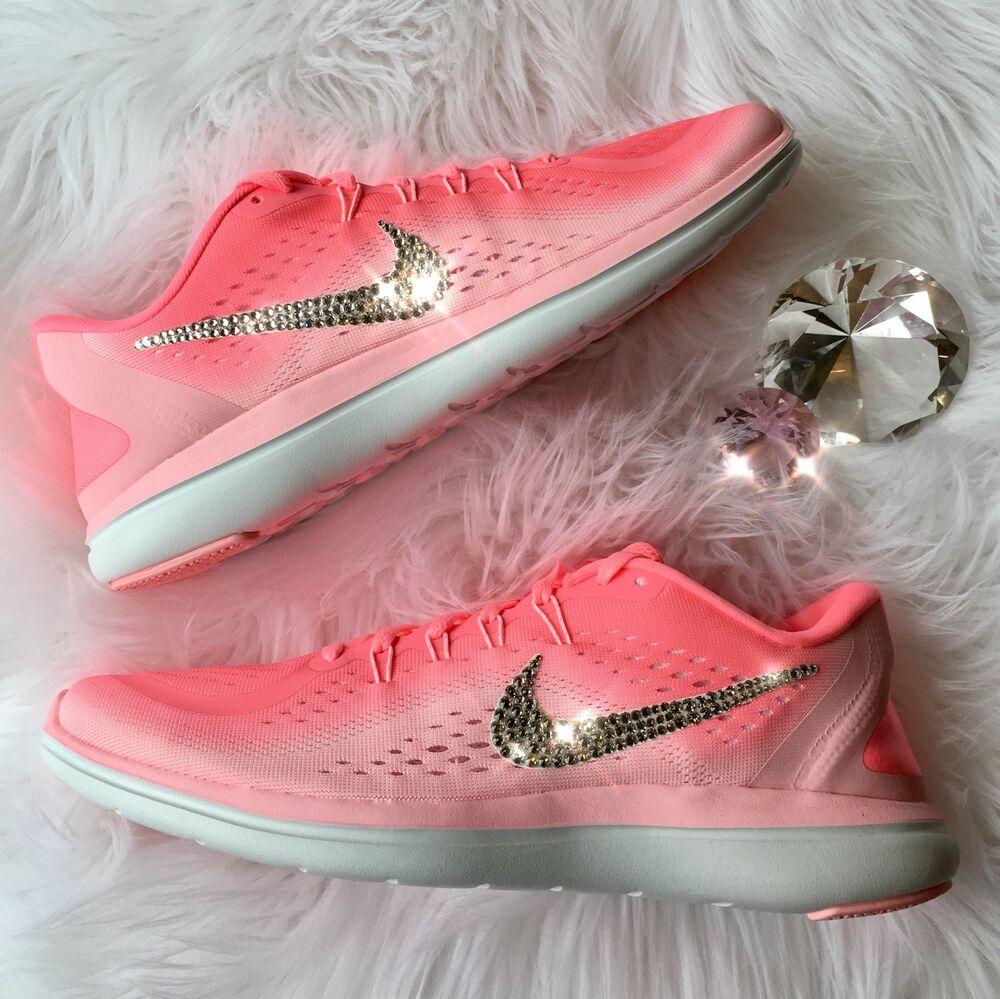 Bling Nike Flex RN 2017 roseHomme Running Chaussures w/ Swarovski Crystal Swoosh Chaussures de sport pour hommes et femmes