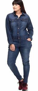 Plus Size Denim Jumpsuit Long Sleeve Button Up Skinny Leg Blue Jean