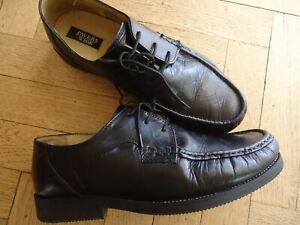 pavers size 44/10 men's black wide fit shoes leather lace