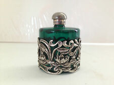GORGEOUS ART NOUVEAU STYLE GREEN GLASS & SILVER DRAGONFLY SCENT / PERFUME BOTTLE