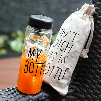 Portable 500ML Canvas Bag Clear My Bottle Sport Plastic Fruit Juice Water Cup