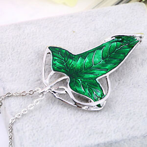 Vintage-Lord-of-The-Rings-Green-Leaf-Elven-Pin-Brooch-Pendant-Chain-Necklace-oc