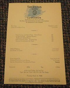March 8 1945 Sheraton Hotel Luncheon restaurant menu