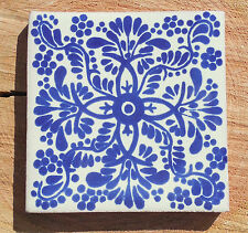 """90~Talavera Mexican tile 4"""" pottery hand painted Cobalt Blue and white Veronica"""