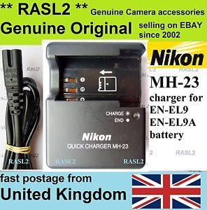 Originale NIKON MH-23 Caricabatterie  EN-EL9 EN-EL9A  D40 D40X D60 D3000 D5000