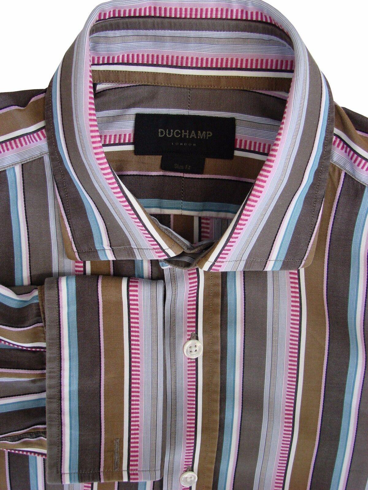 Duchamp London Slim Chemise Homme 15.5 M Marron Multicolore RAYURES Coupe Slim London 46cd67
