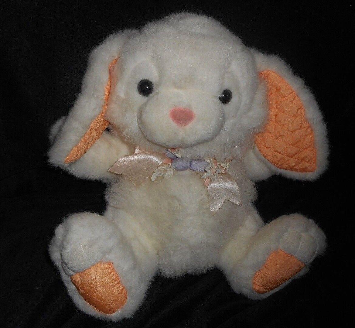 VINTAGE K-MART FAIRVIEW WHITE & orange BUNNY RABBIT STUFFED ANIMAL PLUSH TOY