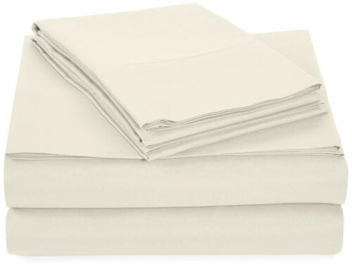 Ivory Solid Bed Sheets for Campers Microfiber RV Sheet Sets Fits Deep Mattress