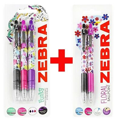 Zebra Z-Grip Funky Brights Retractable Ballpoint Pens 3 Colours Blister of 3