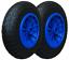 """14/"""" Pack de 2 bleu solide Crevaison Preuve 3.50-8 Brouette Roue 20 mm Roulements"""