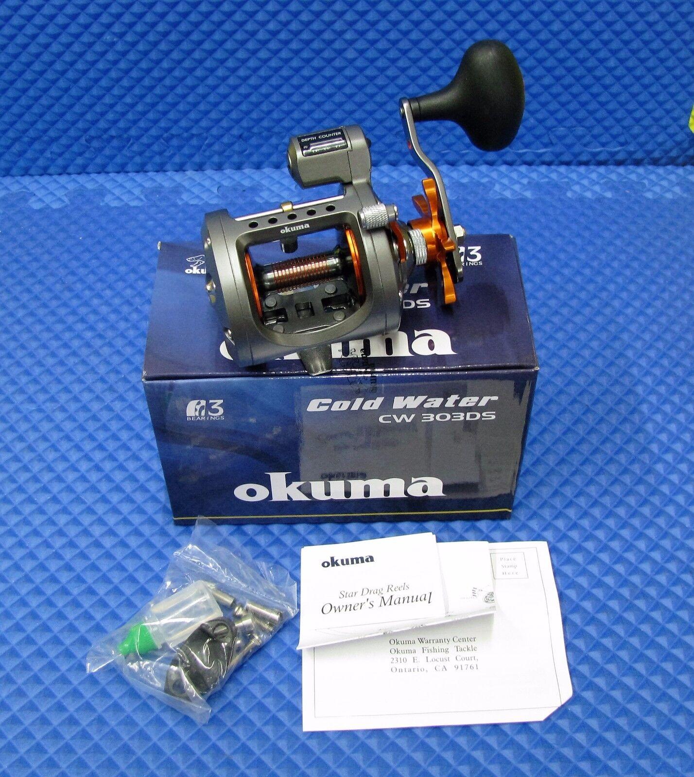 Okuma Hi Speed Trolling Carrete de agua fría con contador de profundidad    nuevo    CW 303 DS