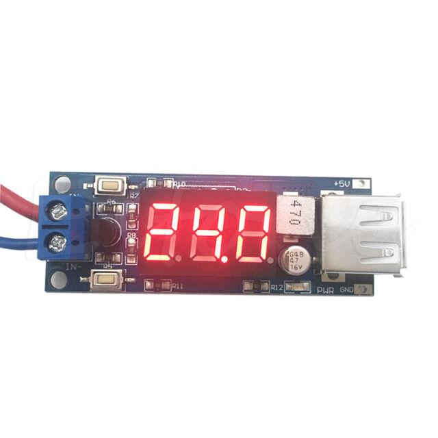 4.5-40V Combo DC 5V 2A USB Charger DC-DC buck converter voltage meter module