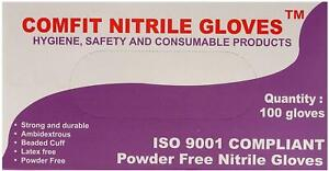 Comfit NG201FL Disposable Gloves 100 Pieces Large Blue Nitrile Powder Free