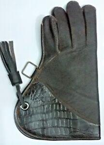 New-Falconry-Glove-2-layers-Leather-12-Inches-Long-Crocodile-Design-Cuffs-Black