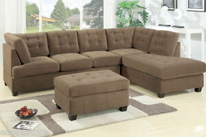Sofa Couch Truffle Plush Waffle Suede Sofa L/R Chaise w Ottoman 3pc Set Family