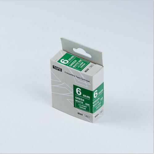 """EPSON Compatible LC-2GWP Label Tape White on Green 6mm 8m LW300 LW500 1//4 x 26/"""""""