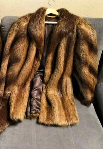 VERY-RARE-LUXURY-Nutria-Fur-Coat-Jacket-Ladies-Size-UK-14-16-Coypu-Vintage