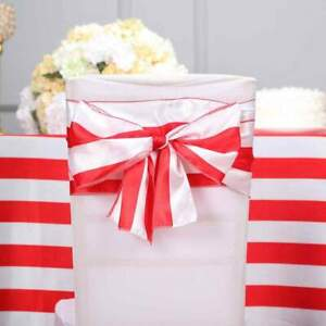 5 Red And White Satin Stripe Chair Sashes Wedding Party Decorations Wholesale Ebay