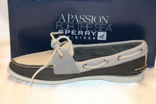 NIB Sperry Top Sider PARKER Gray Ivory Leather 2 Eye Boat Shoe 7 8 9 10 $90 NEW