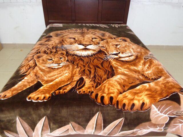 Solaron Korean Blanket Thick Mink Plush Queen Lion EBay Adorable Lion Blanket Or Throw