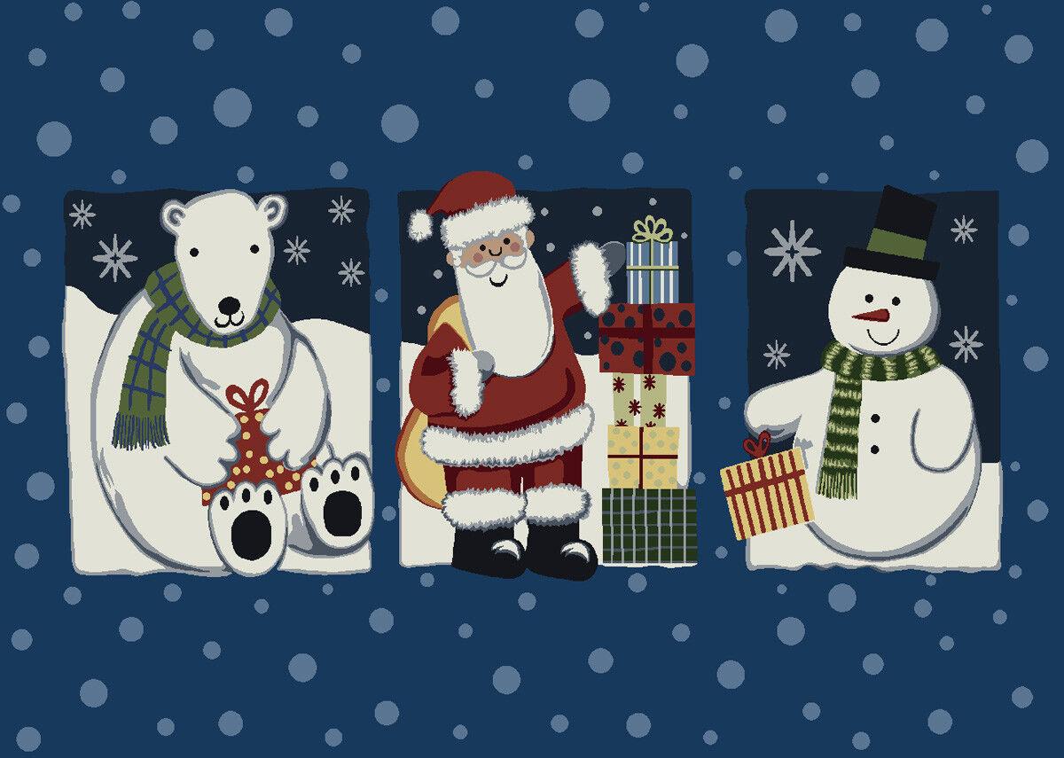 2x4 Milliken Tis The Season blu Jay Polar Bear Area Rug - Approx 2'8 x3'10