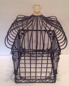 Decorative Metal Bird Cage.Details About Decorative Black Metal Bird Cage Square With Coped Top Gems On Top Corners