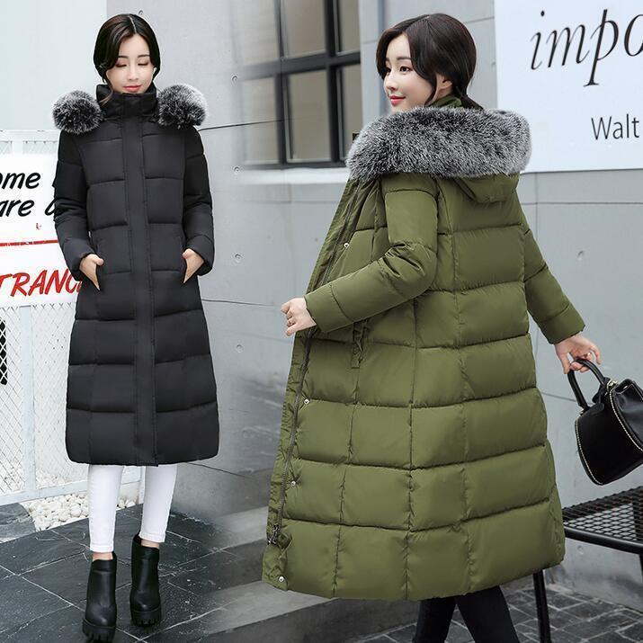 Women fashion Winter Down Cotton Parka Long Big Fur Collar Hooded Coat outwear