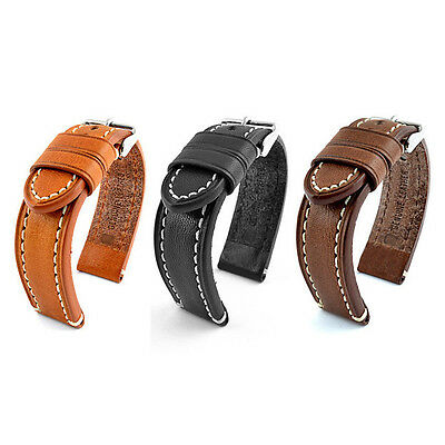 Vintage Style 18, 20, 22, 24mm Mens Genuine Leather Watch Band Strap Catalonia
