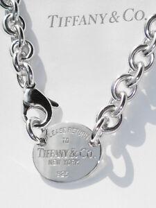Tiffany-amp-Co-volver-a-Tiffany-Plata-Esterlina-Oval-Etiqueta-Gargantilla-Collar