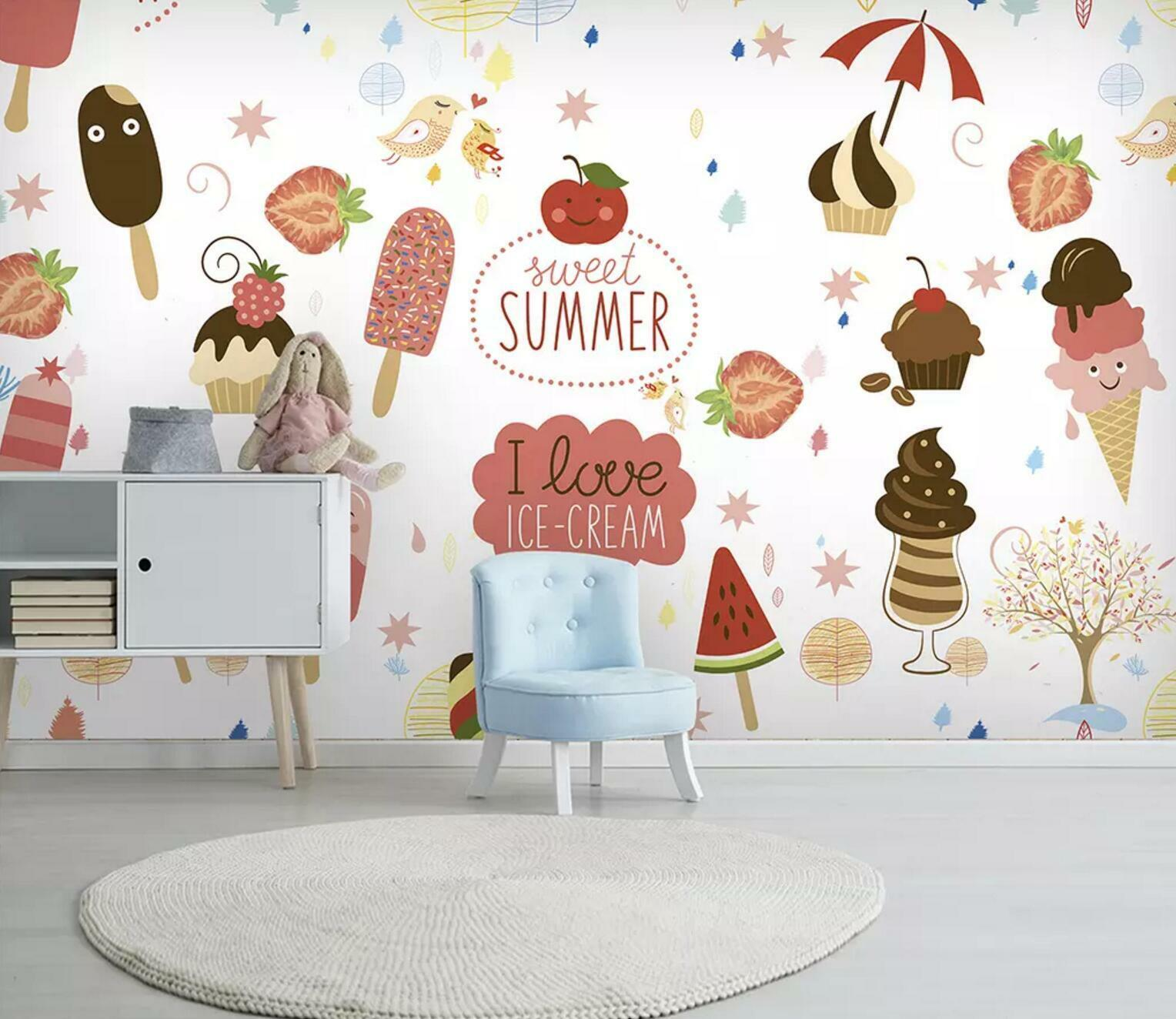 3D Ice Cream Fruit 5 Wall Paper Exclusive MXY Wallpaper Mural Decal Indoor wall
