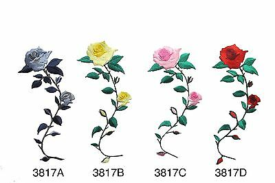 "#3817E 7 1//4/"" Black,Silver Grey Rose Flower Embroidery Iron On Appliqué Patch"