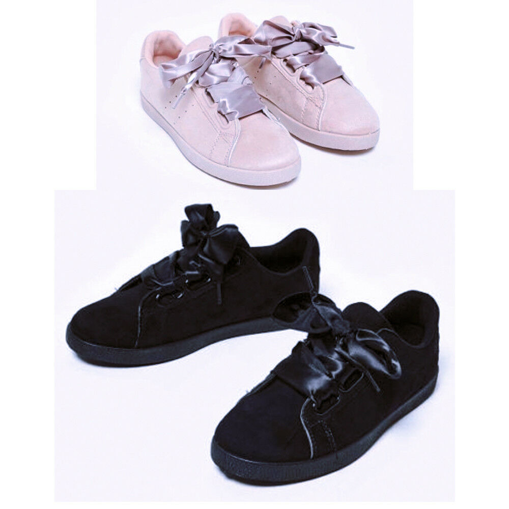 Womens Ladies Satin Lace Up Suede Trainers Chaussures taille