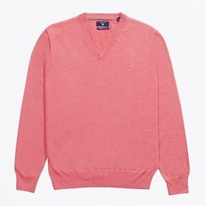 Gant-83072-V-Neck-Lightweight-Cotton-Sweater-Bright-Coral-Small-GENUINE-GANT